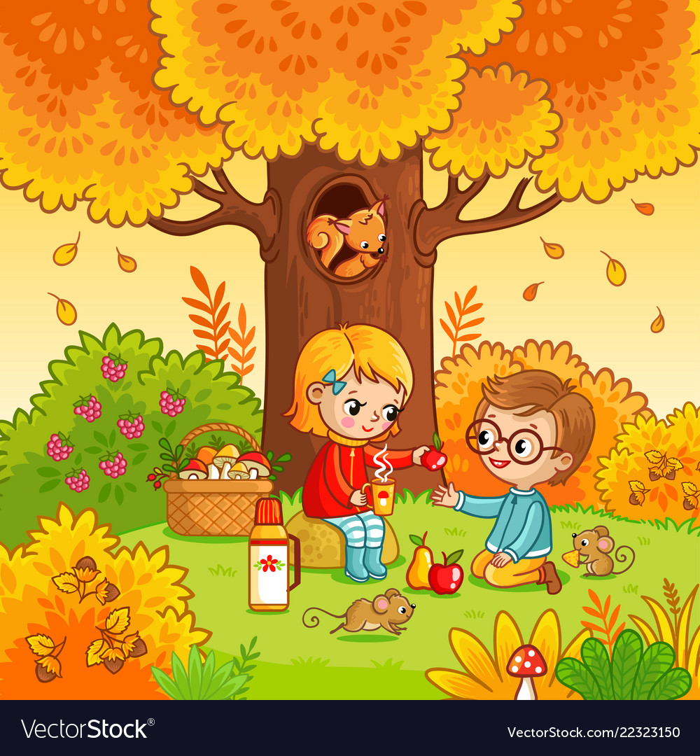 Picnic in the forest with children