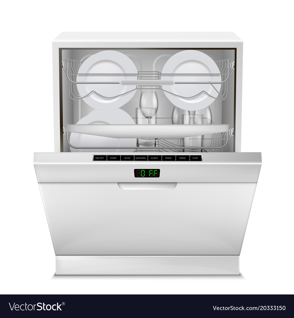 Realistic dishwasher machine with dishes vector image