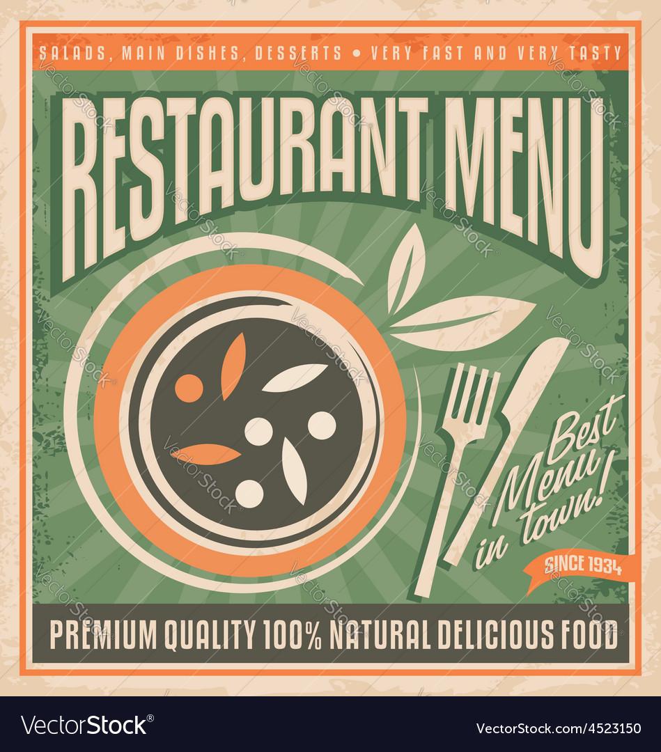 Retro Restaurant Menu Poster Design Royalty Free Vector