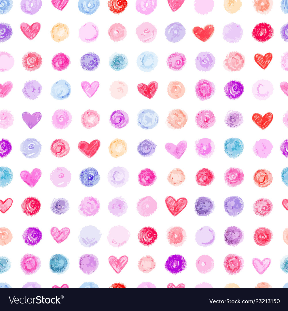 Seamless pattern with hand drawn hearts and dots
