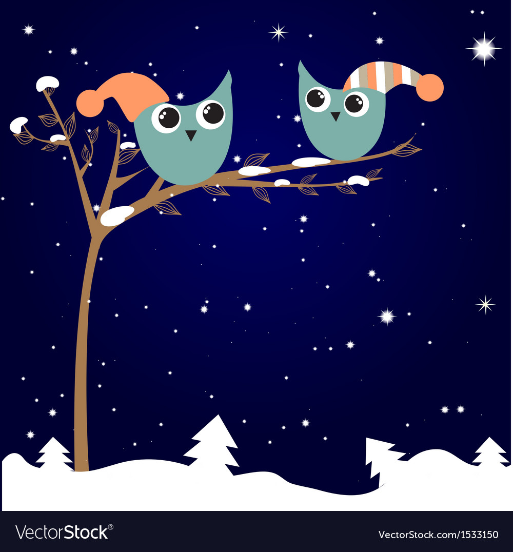 Simple card of two funny cartoon owls with