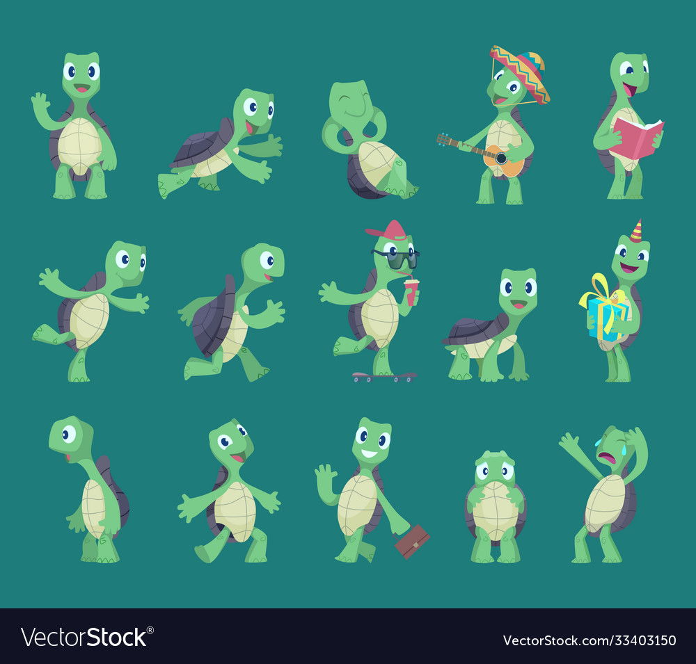 Turtles cartoon comic reptile funny characters in