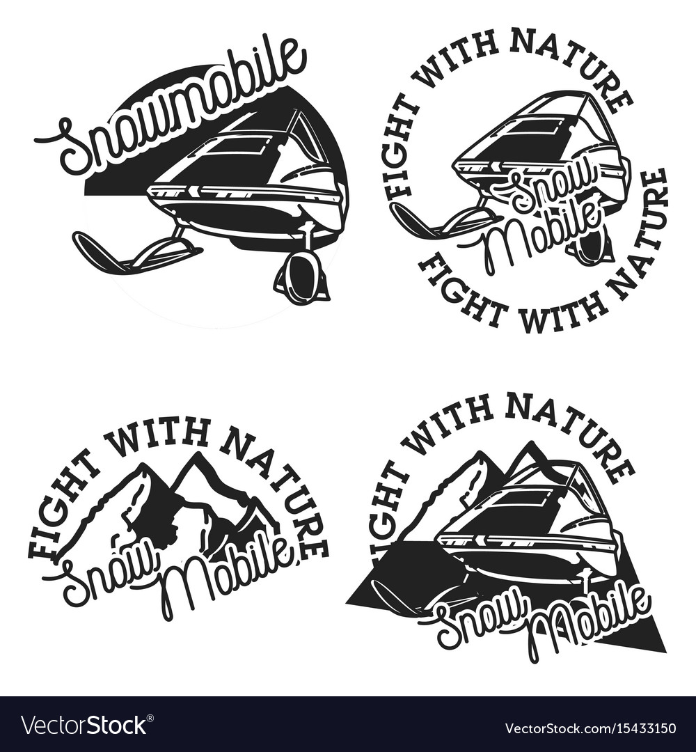 Vintage snowmobile emblems vector image