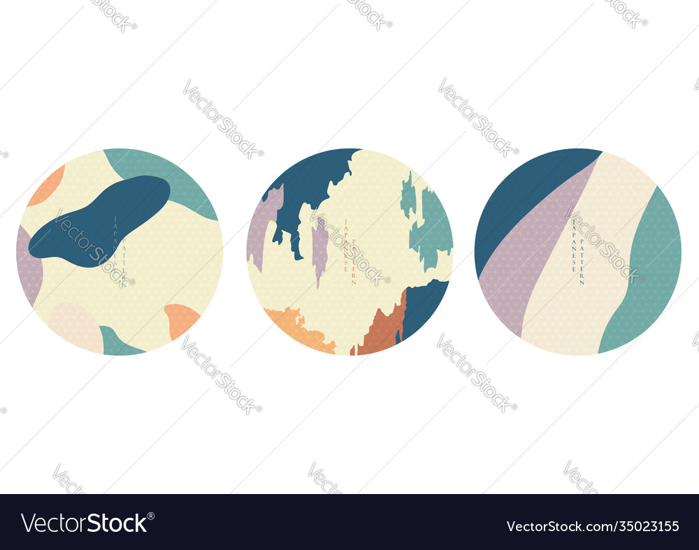 Abstract circle backgrounds with japanese pattern