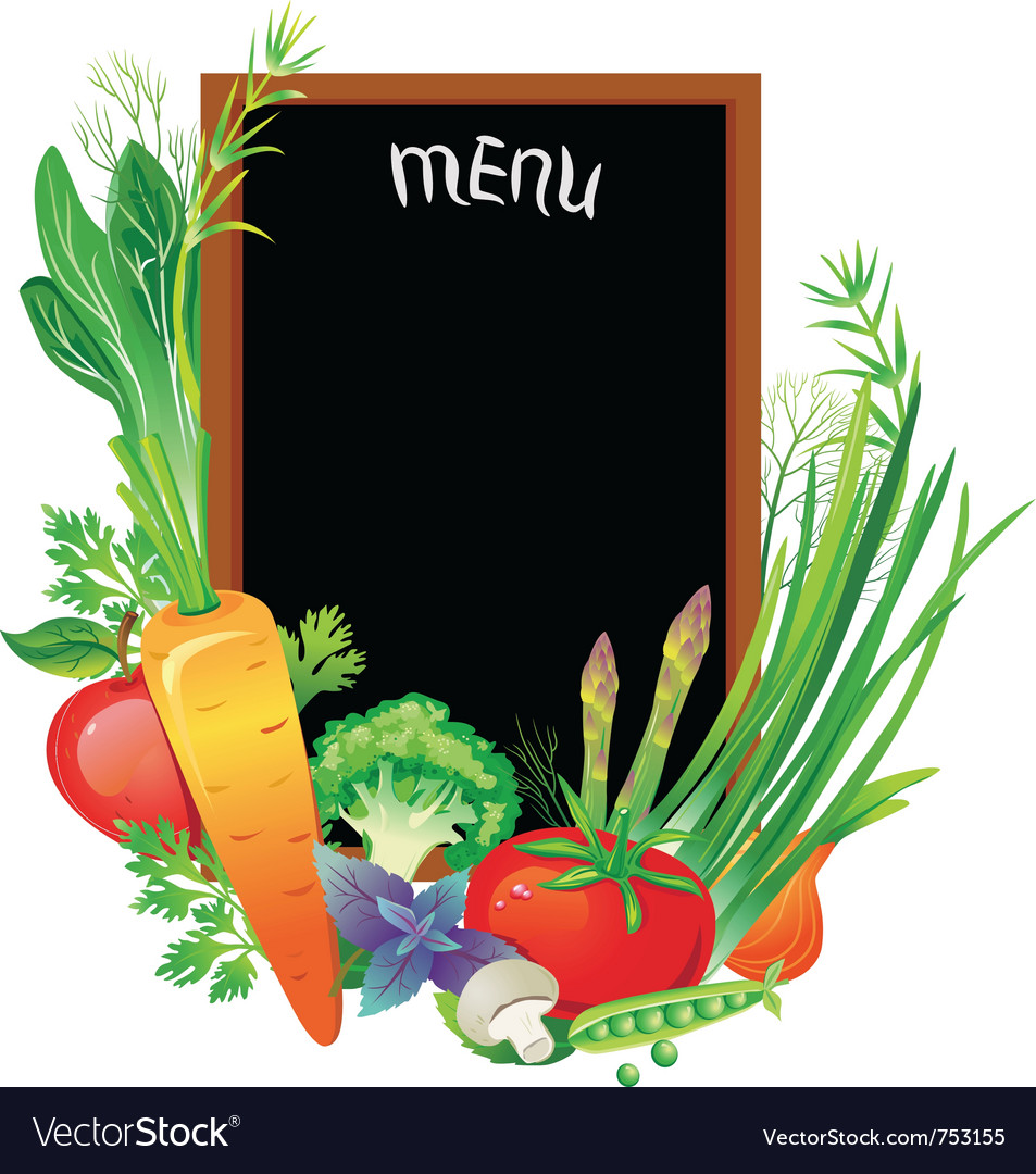 Board menu with a group of vegetables