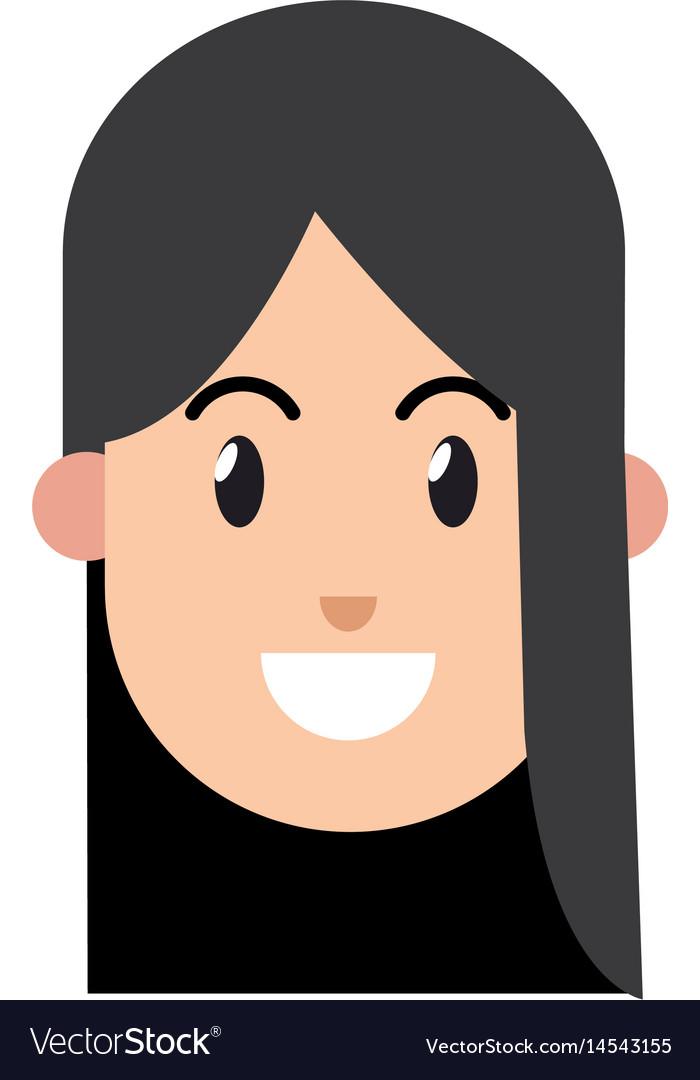 Cartoon girl smile black hair