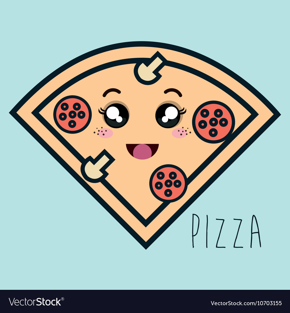 Cartoon pizza facial expression isolated icon