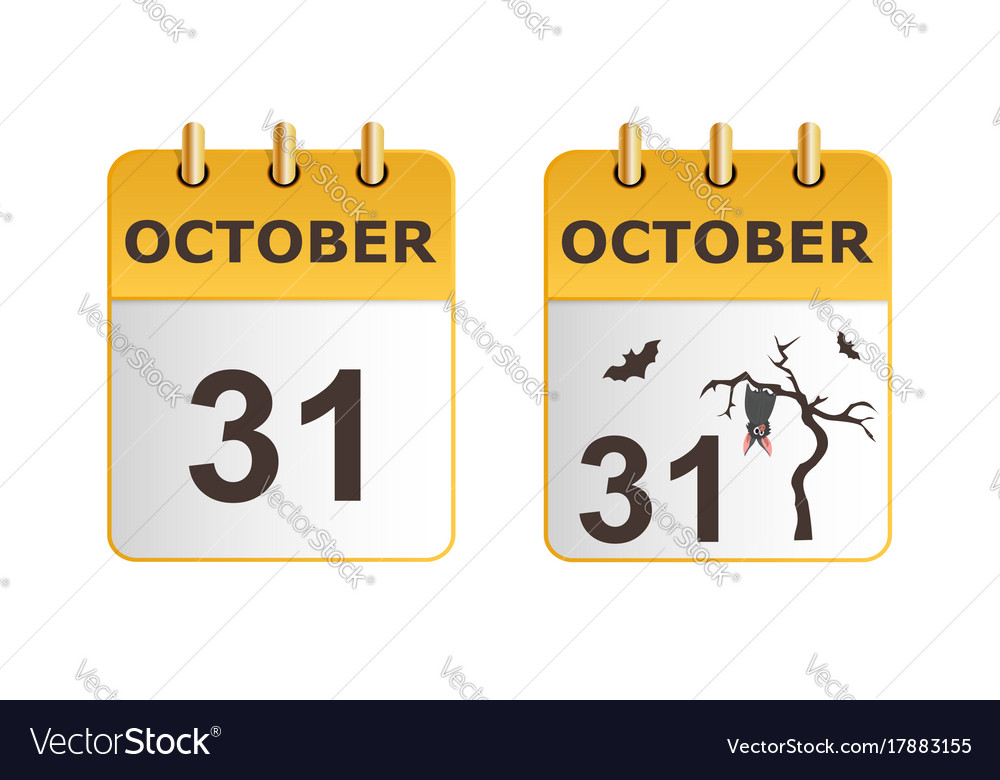 Halloween on icons of calendar in different