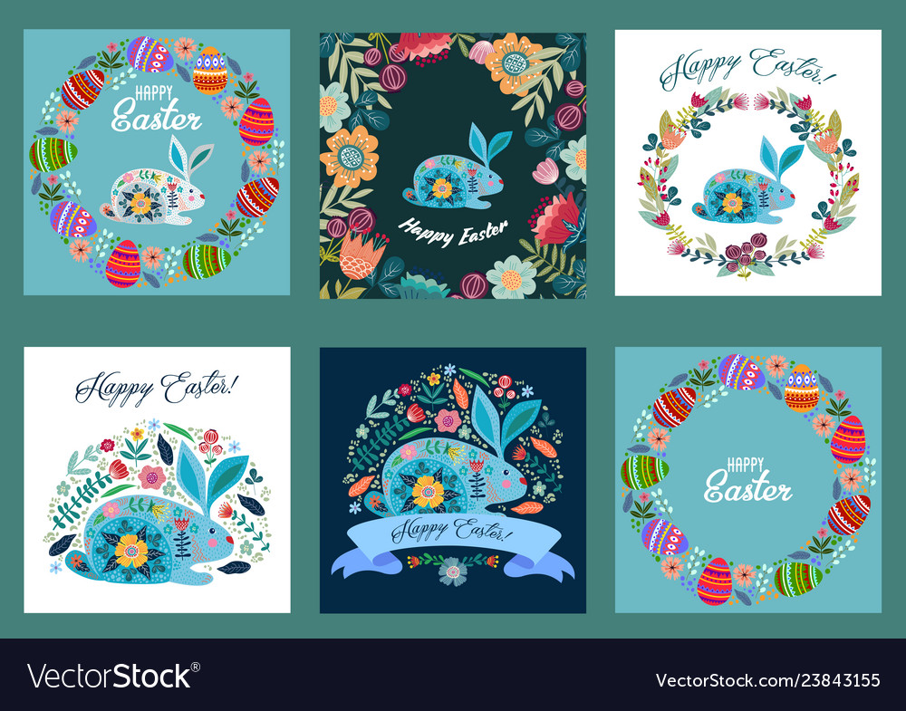 Happy easter set of templates for cards and