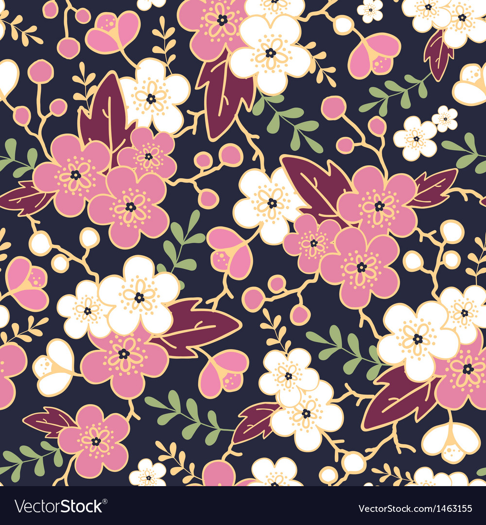 Night garden sakura blossoms seamless pattern