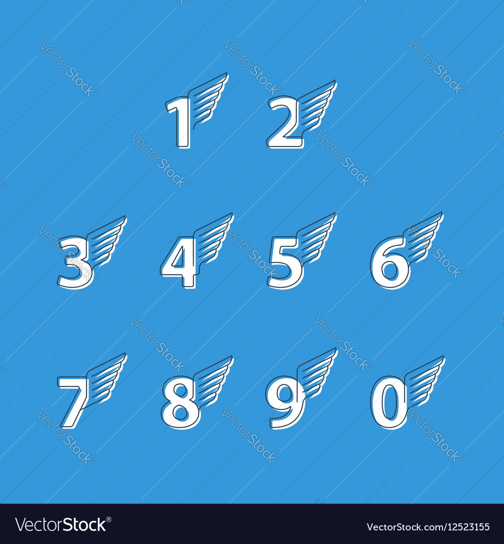 Numbers thin lines set of icons with wings