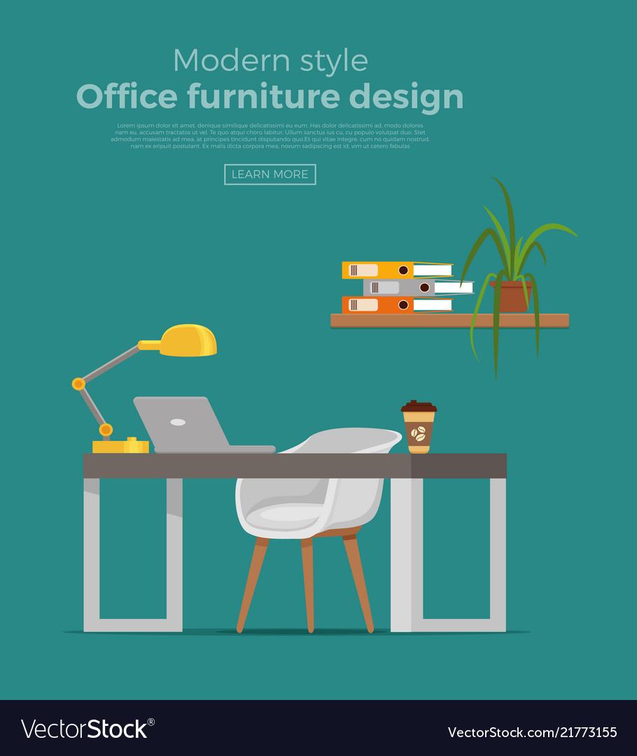 Office workplace interior cartoon design
