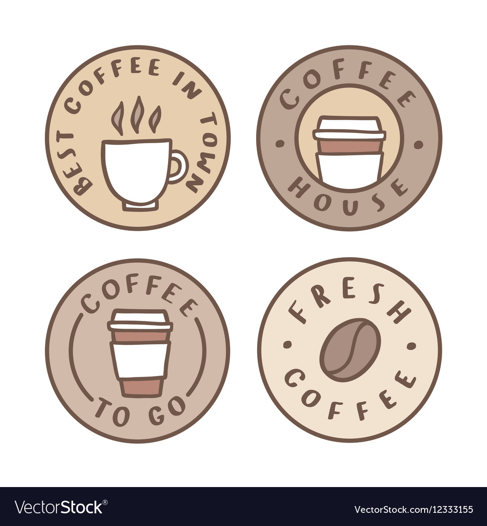 Set of badges Coffee house take away