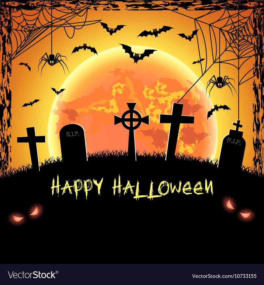 Elegant Spooky Card For Halloween Vector Image