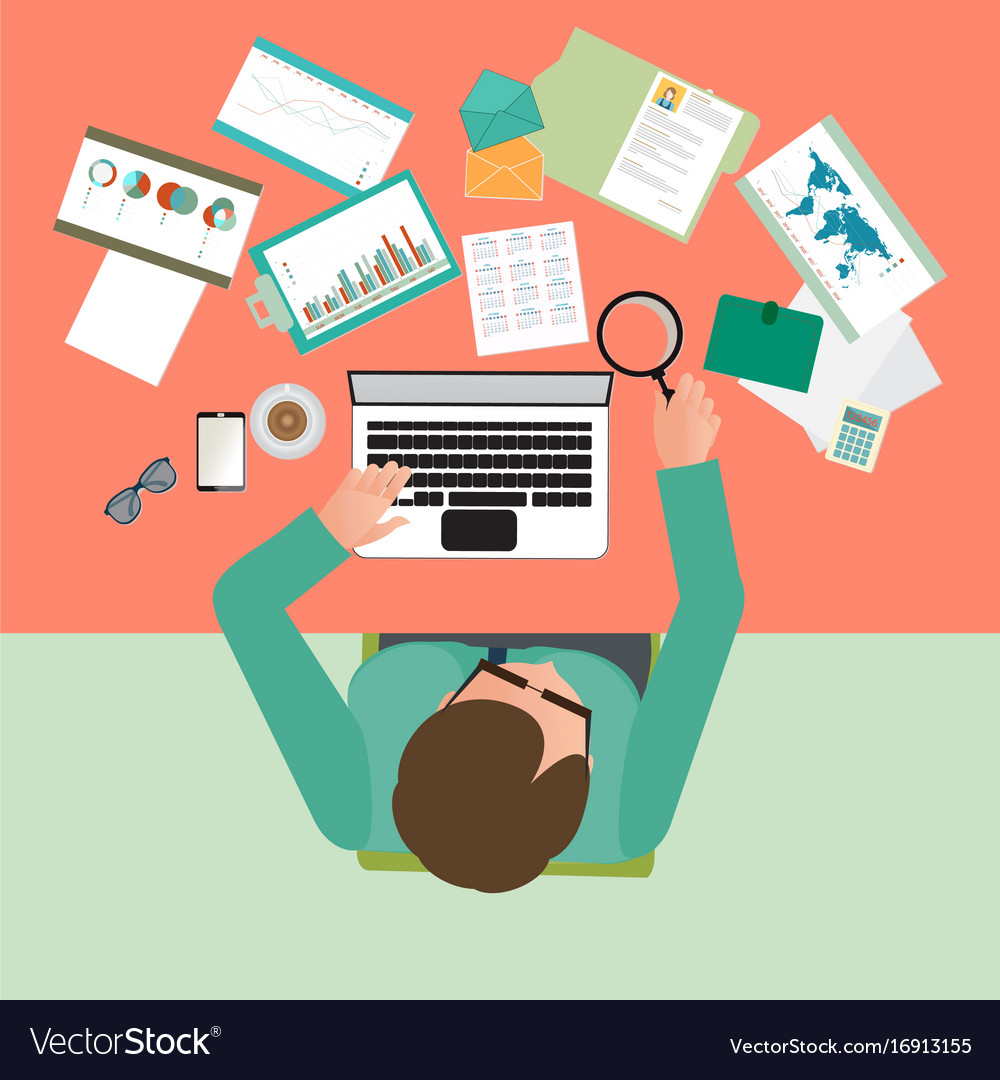 Top view of busy businessman working hard on his vector image
