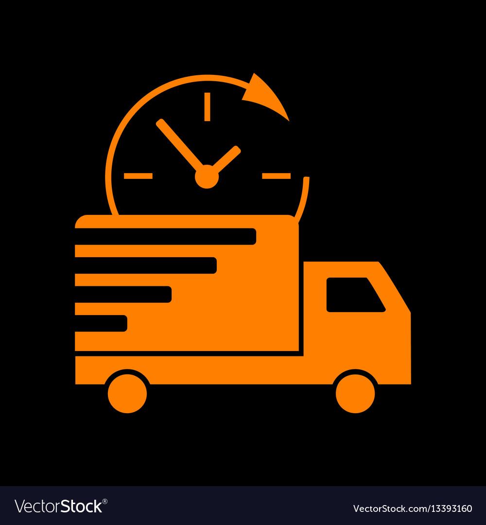 Delivery Sign Orange Icon On Black Vector Image On Vectorstock