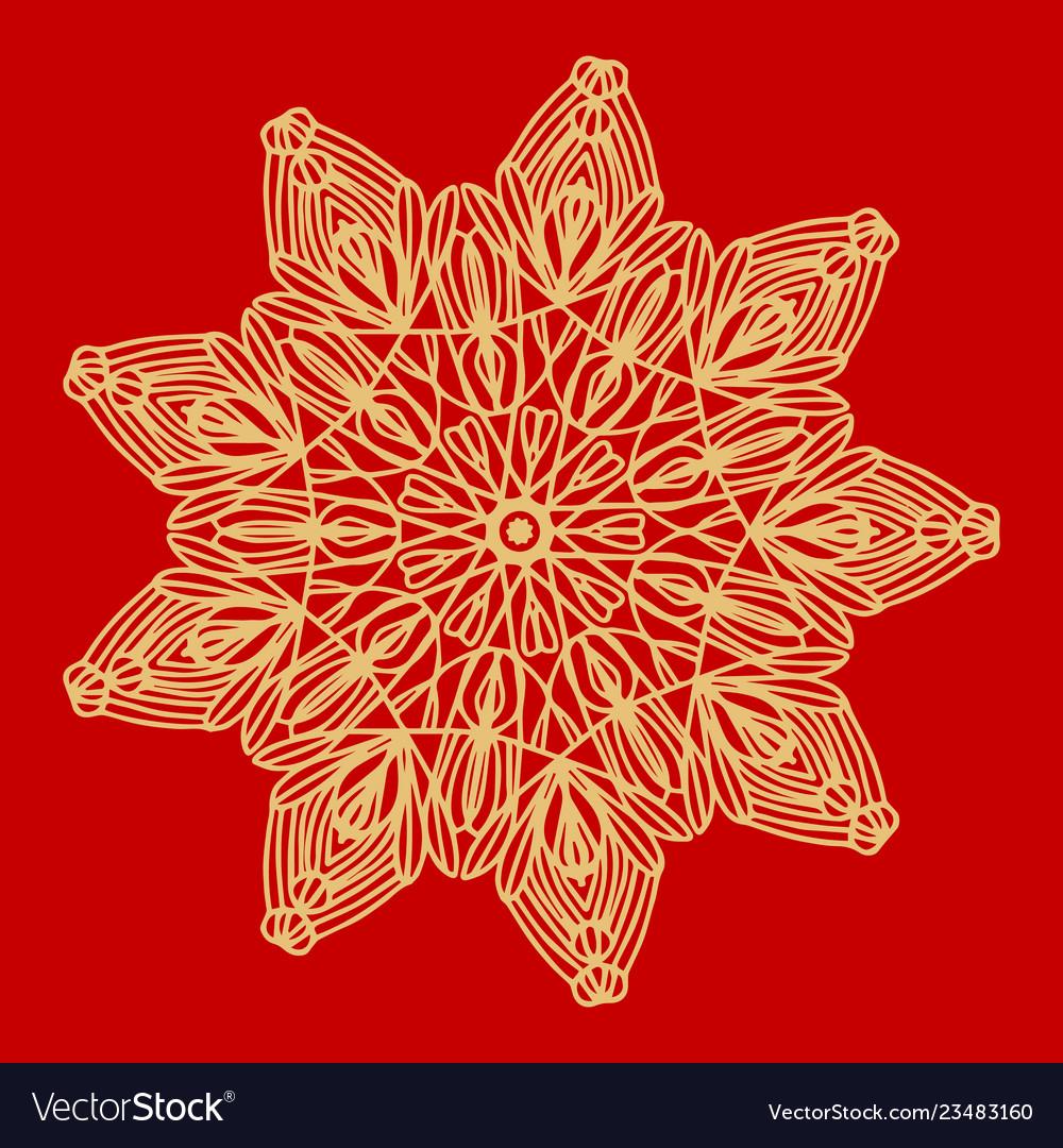 Flower gold mandala vintage decorative elements