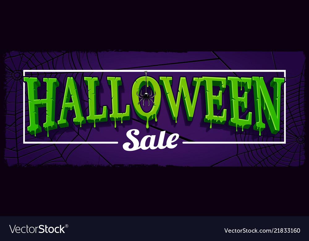 Halloween sale horizontal banner with web of