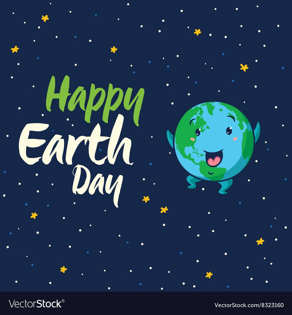 Happy Earth Day cartoon card vector image