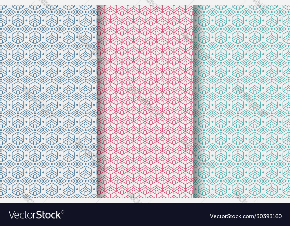 Hexagon Mosque Patterns With Blue Pink And Green Vector Image