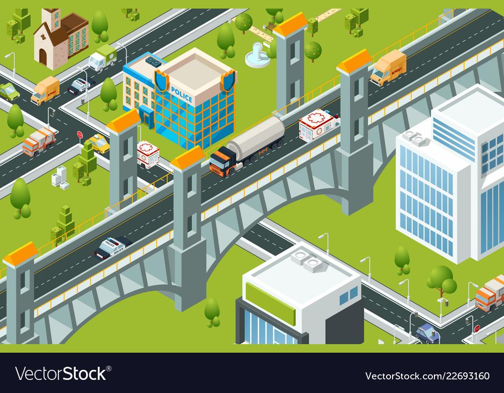 Isometric city bridge train railway viaduct urban