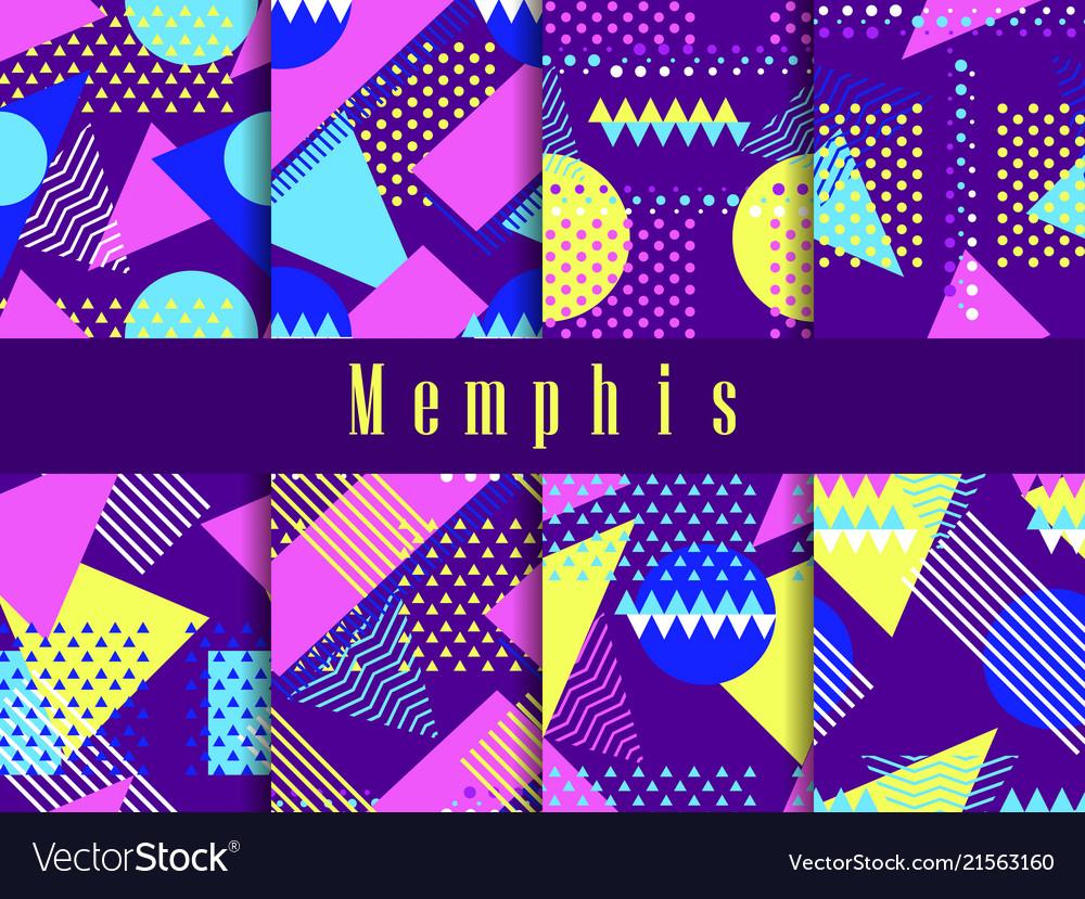 Memphis seamless pattern set geometric elements
