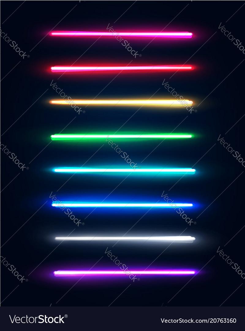 Neon light tubes set halogen or led light lamps