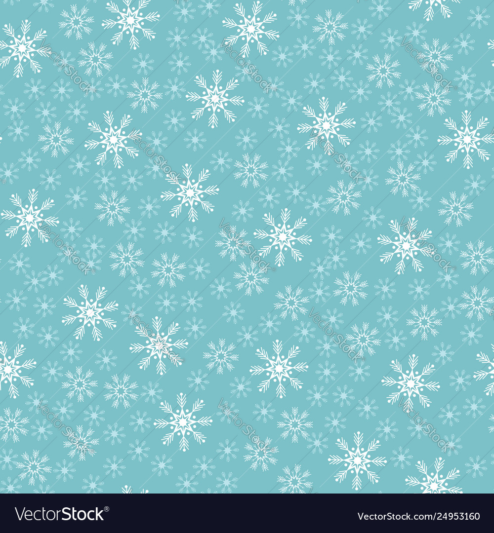 Seamless christmas snowflake blue background