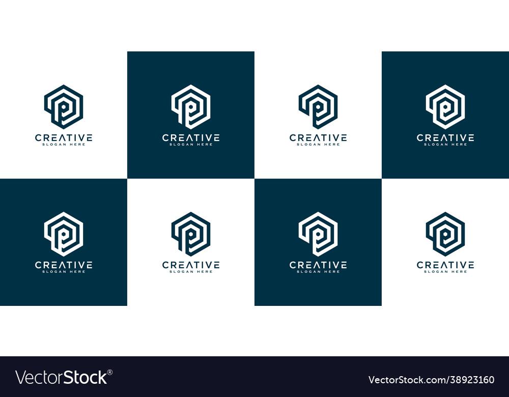 Set initial letter p logo design
