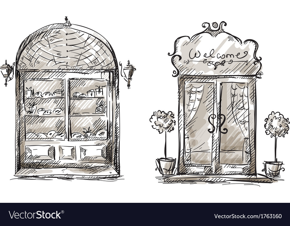 Shop-window and entrance door drawing retro style