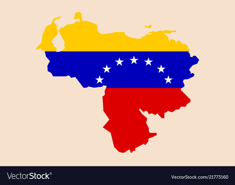 Venezuela map with flag inside Royalty Free Vector Image