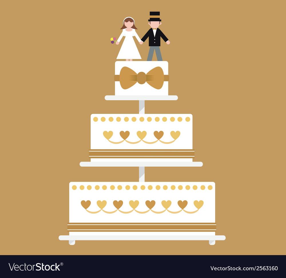 Wedding cake gold ribbon