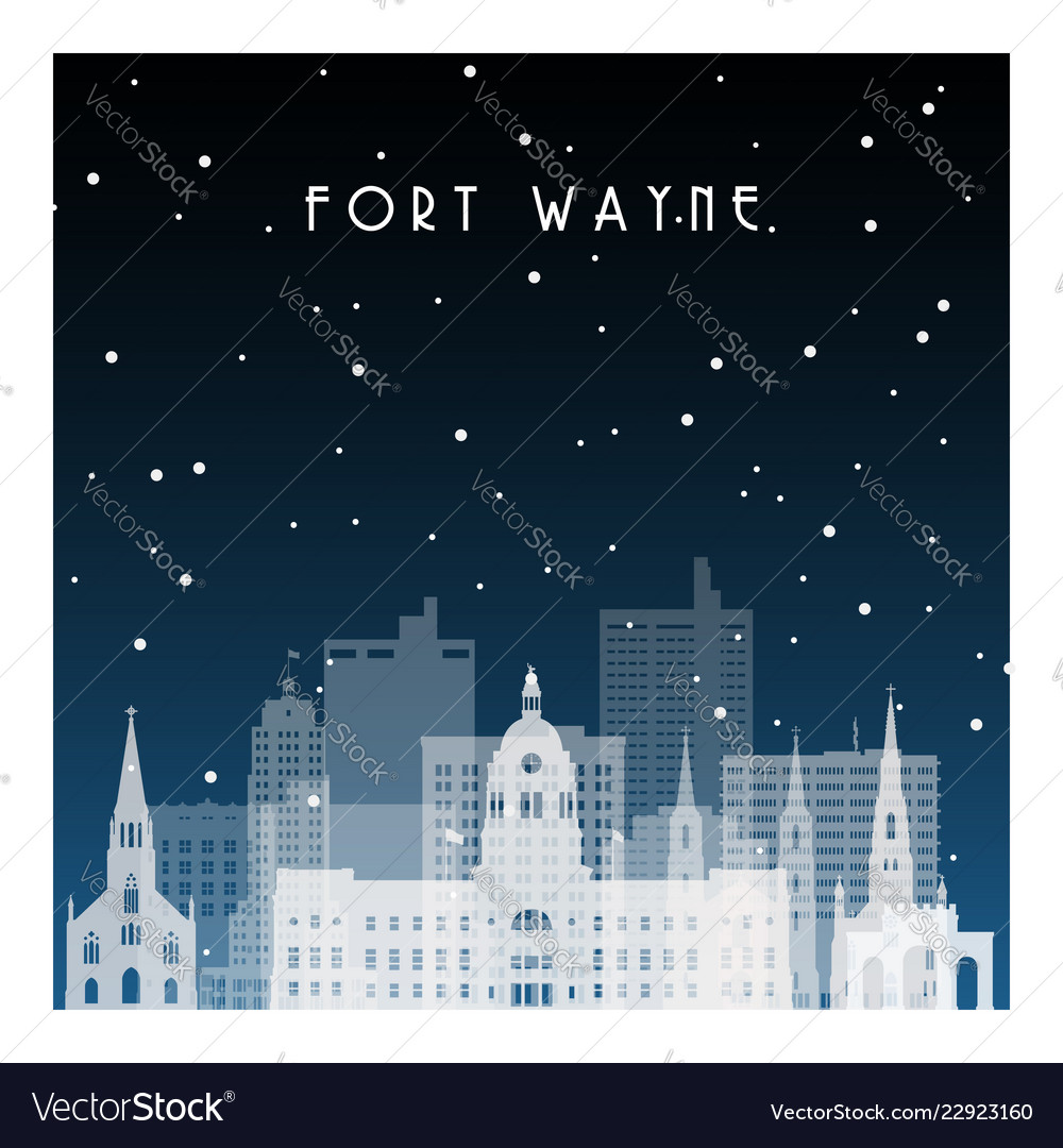 Winter night in fort wayne night city