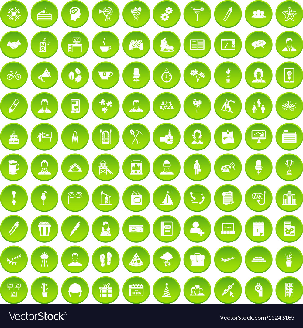 100 team building icons set green circle vector image