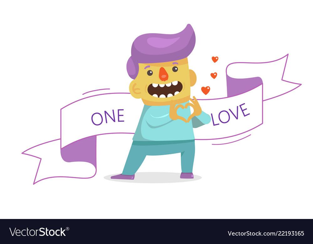 A businessman in love fall in love emoji facial