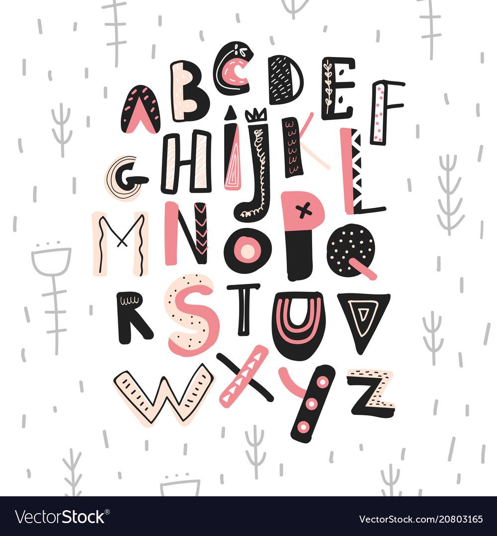 Abstract childish hand drawn alphabet scandinavian