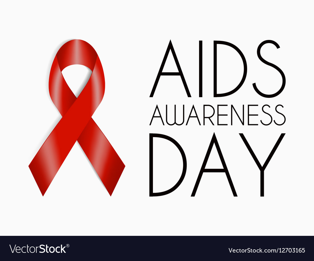 AIDS Awareness Day poster Red realistic ribbon