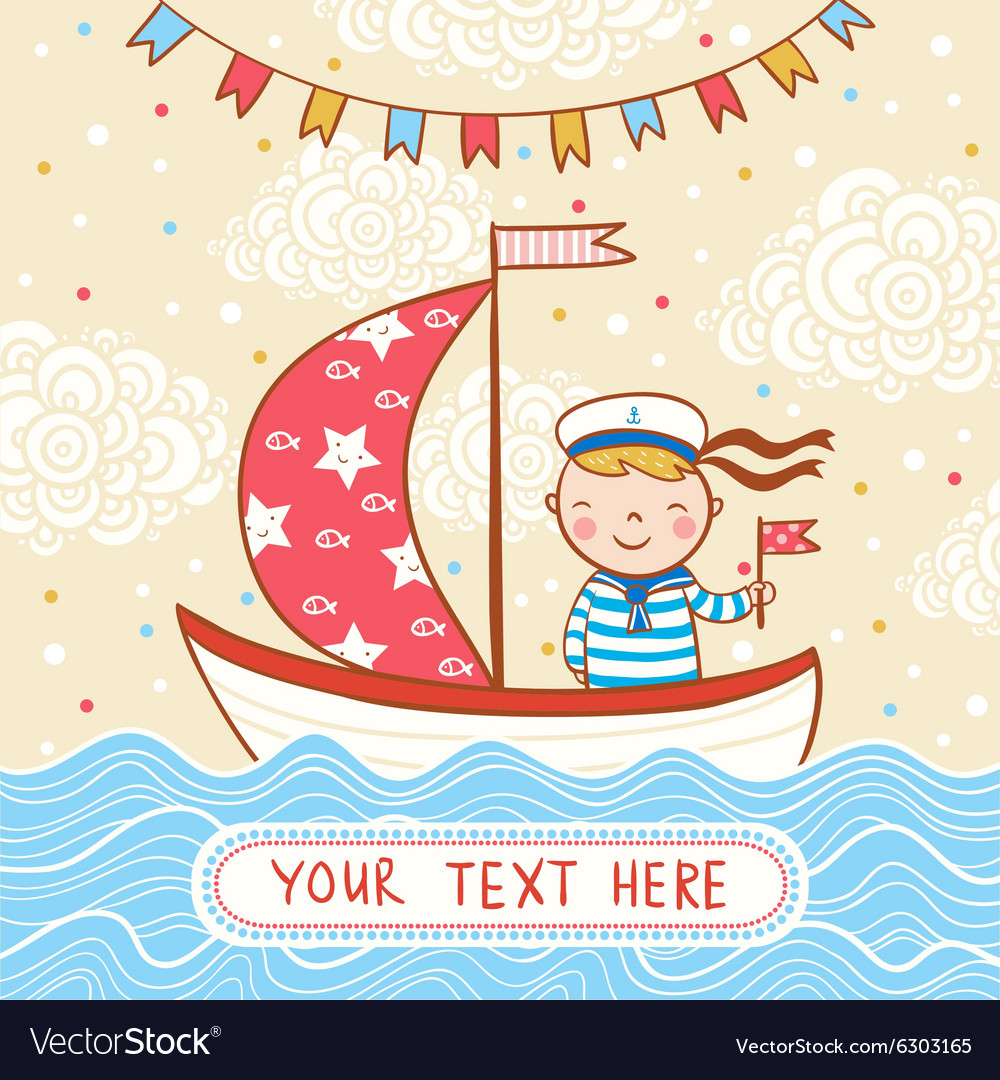 Beautiful Happy Birthday Greeting Card With Boy Vector Image