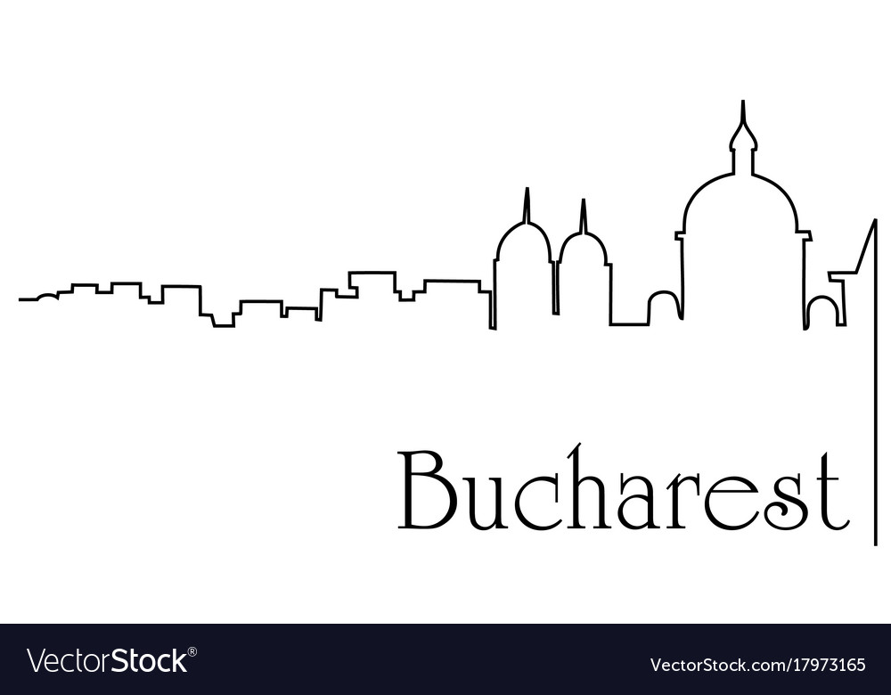 Bucharest city one line drawing background