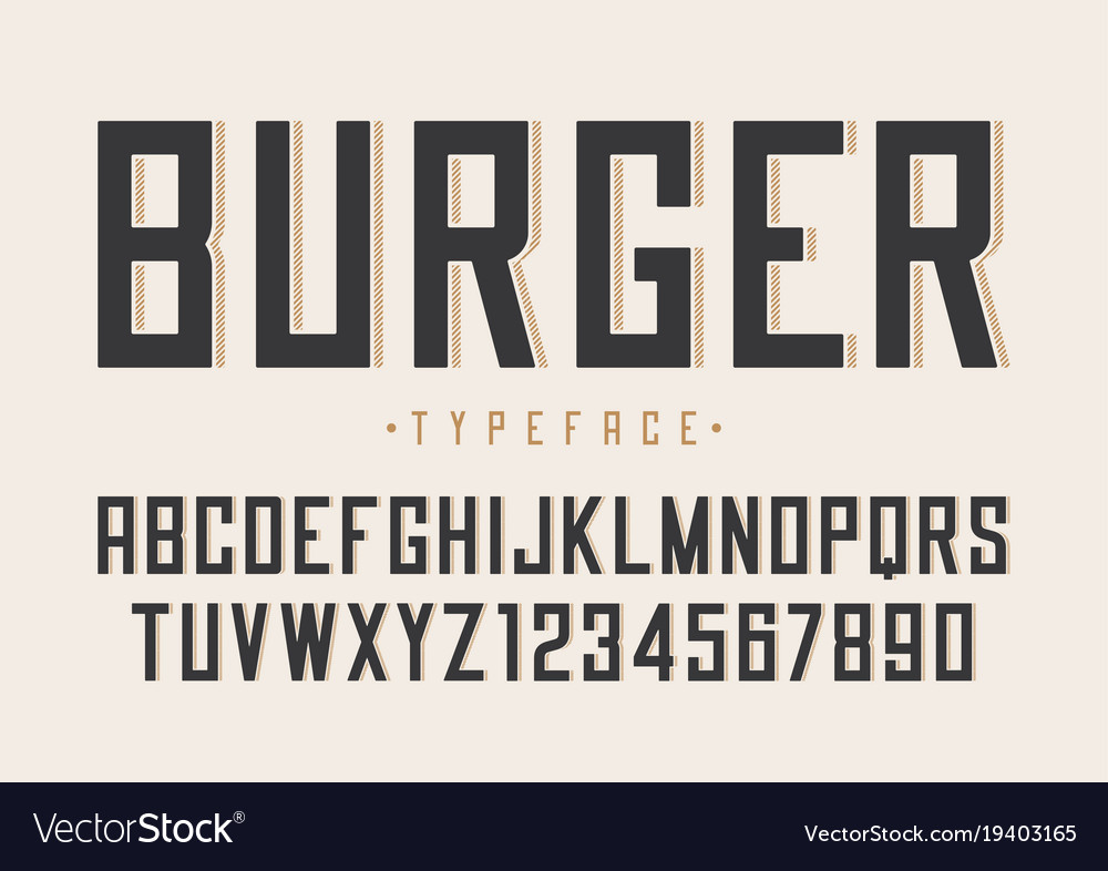 Burger retro regular font design alphabet