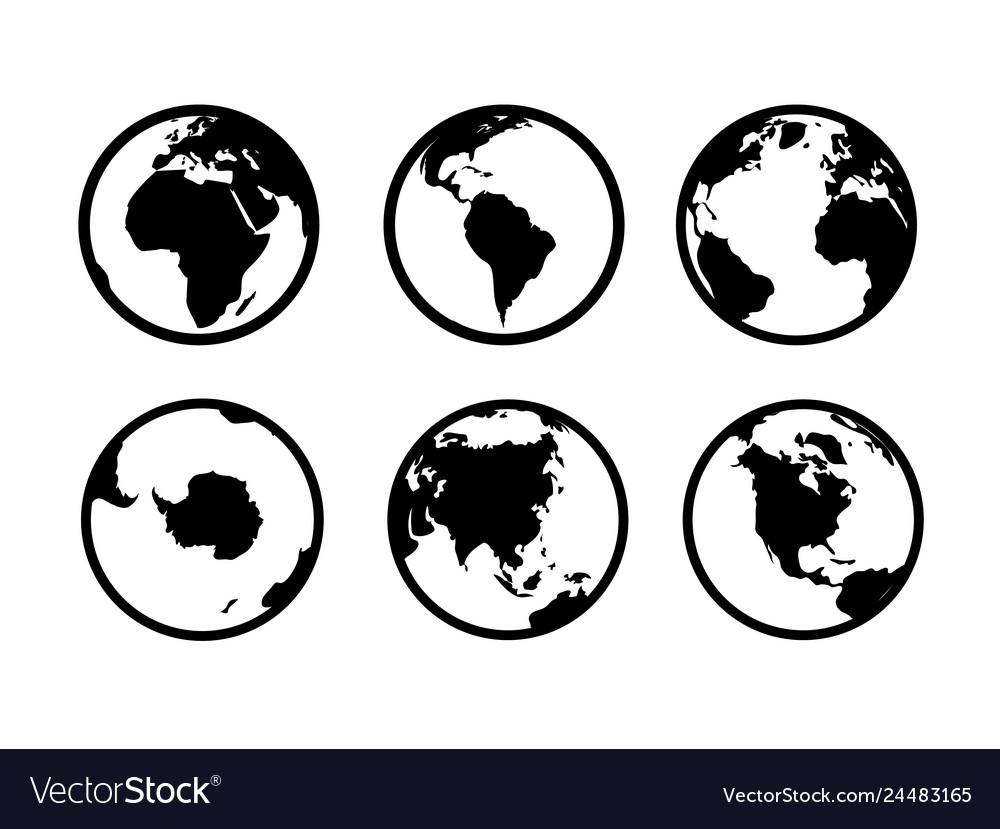 Earth globe icons world circle map geography