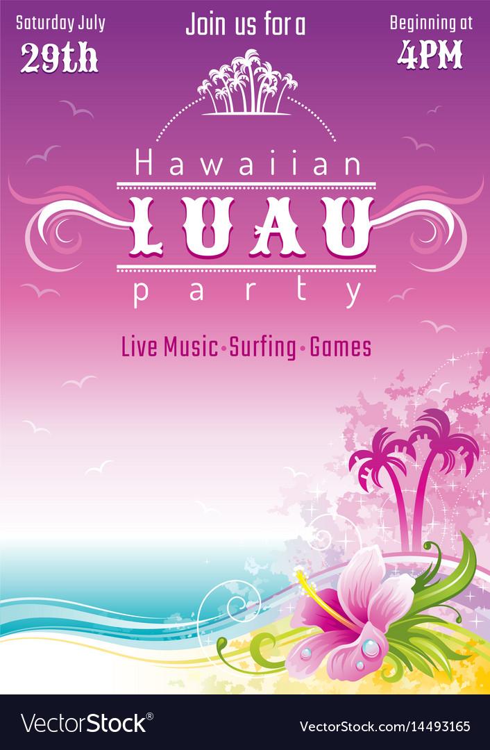 evening beach sea flyer hawaiian luau party vector image