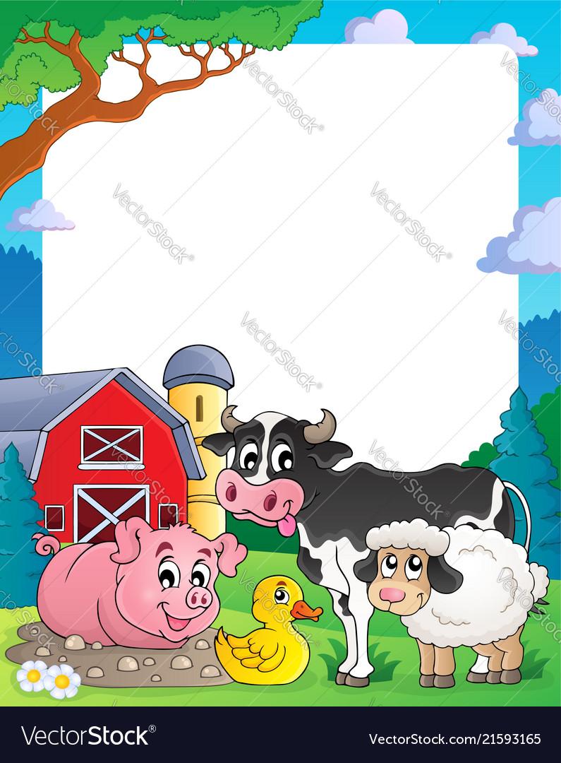Farm theme frame 2 Royalty Free Vector Image - VectorStock