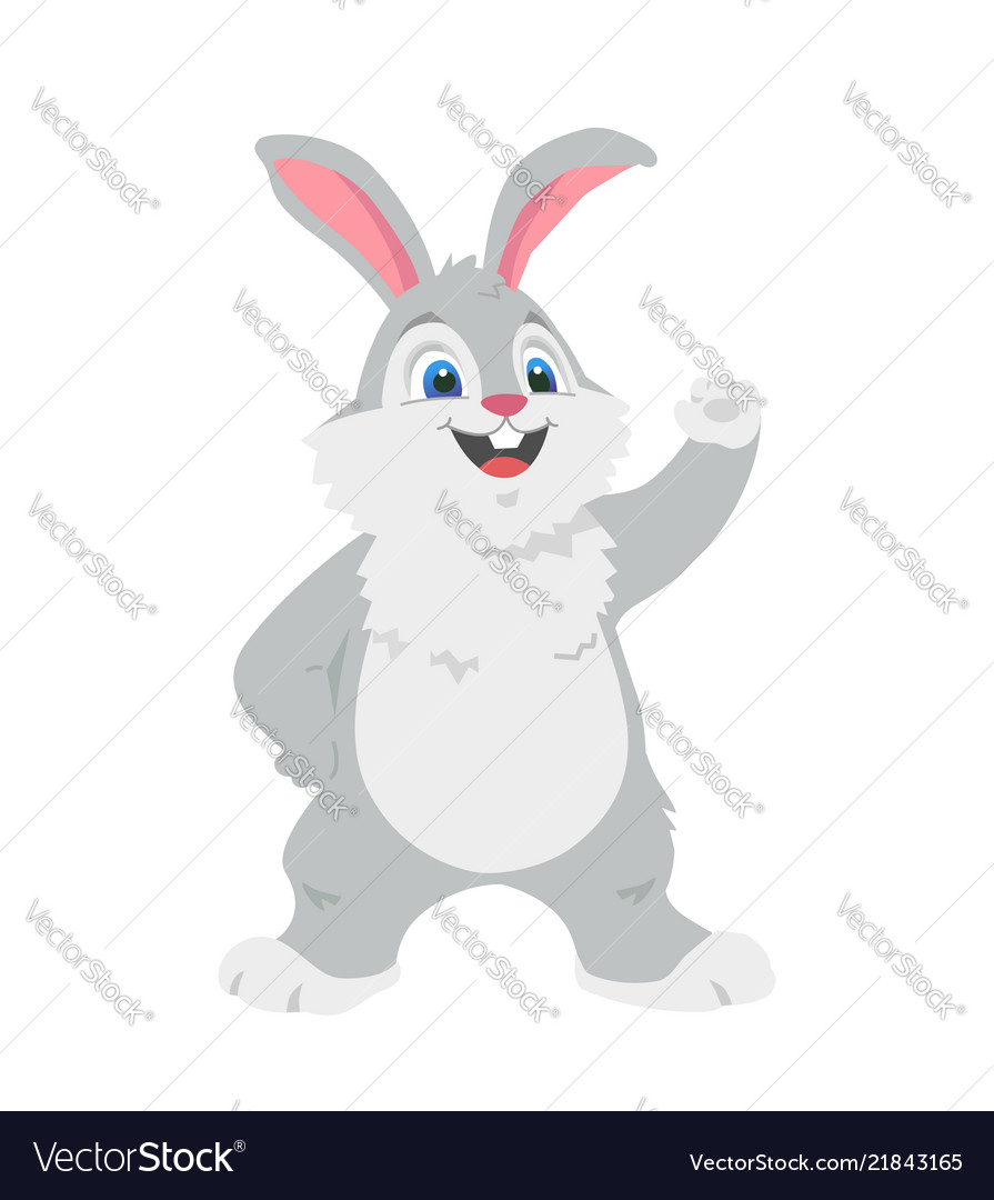 Happy rabbit - colorful cartoon character
