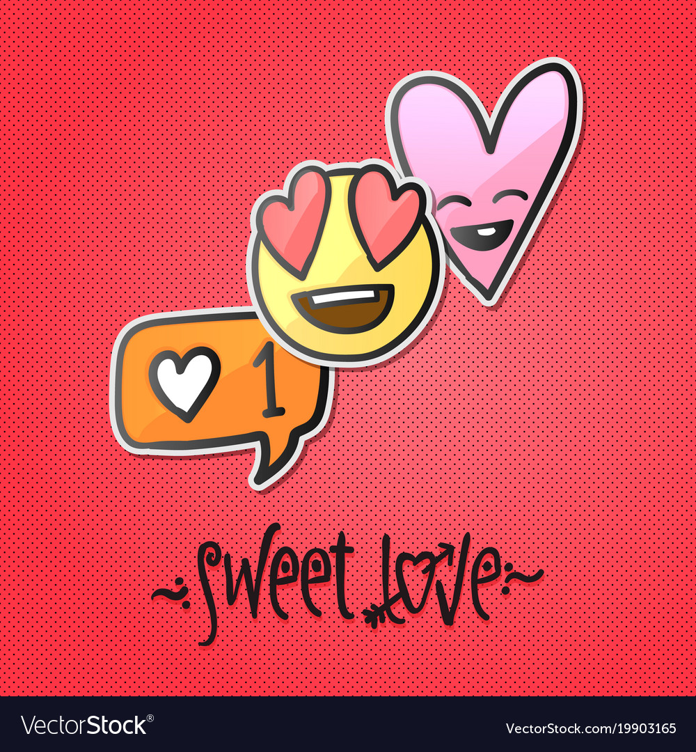 love stickers emoji icons emoticons royalty free vector