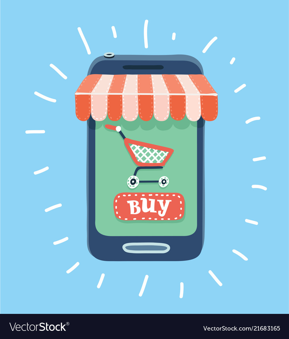 Online store concept smartphone with awning
