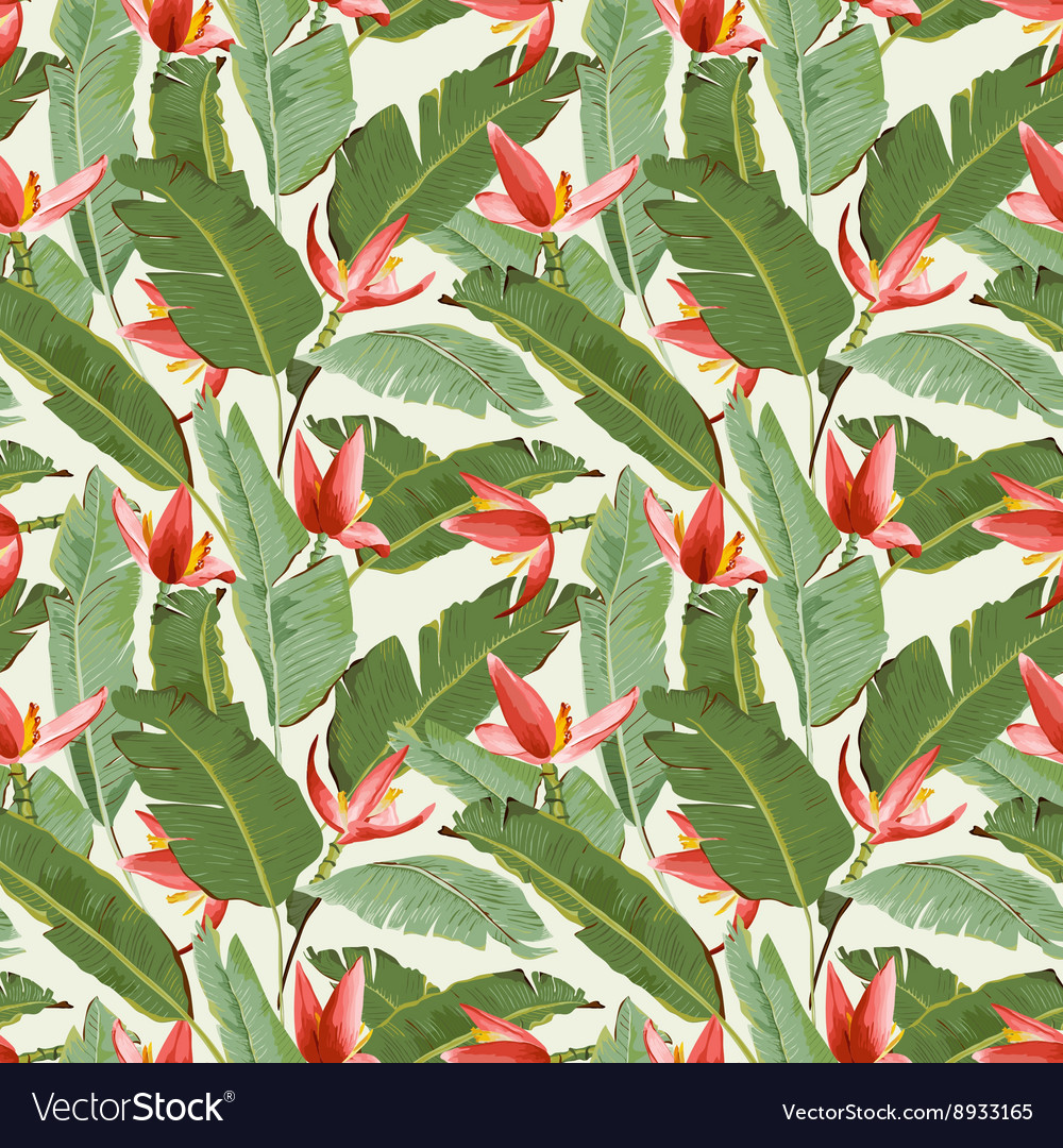 Seamless Pattern Tropical Palm Leaves Background vector image