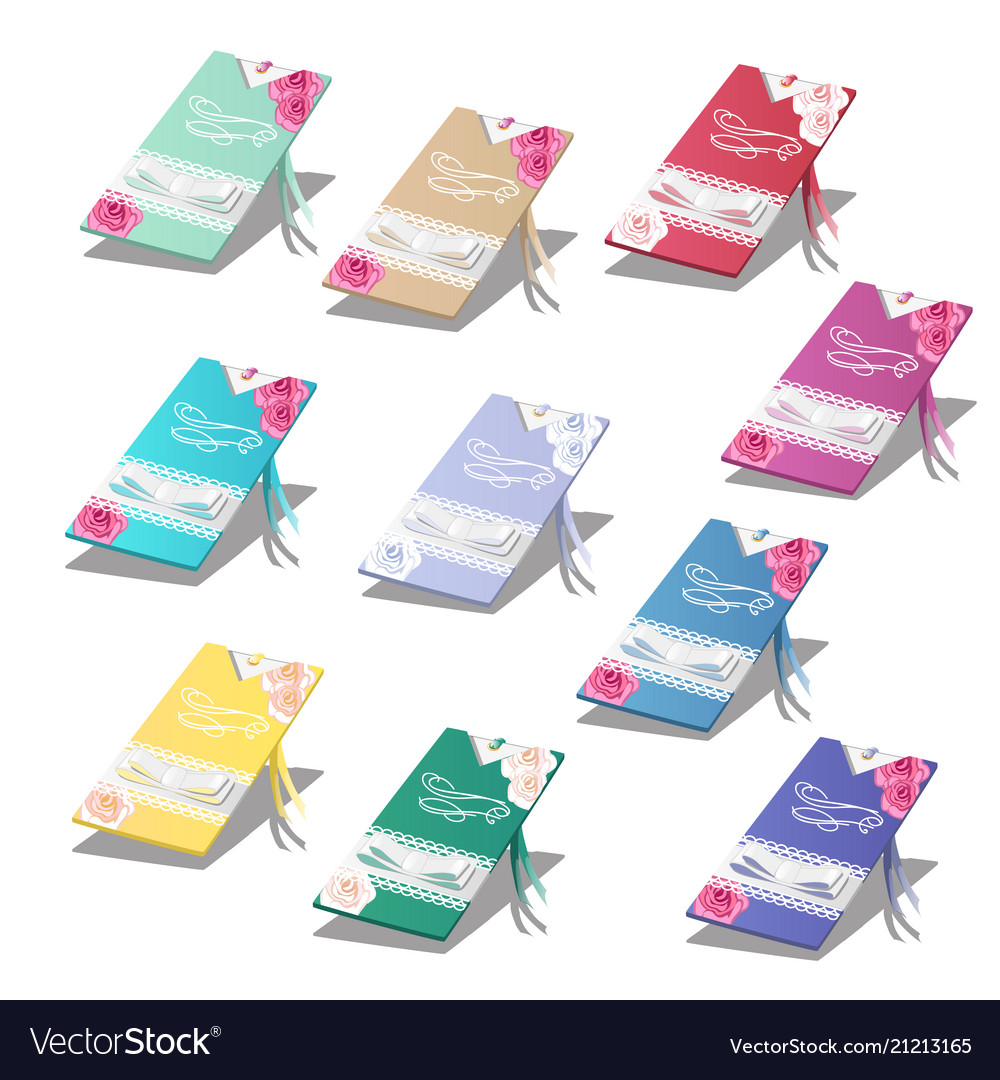 Set of colorful cards with wedding invitations