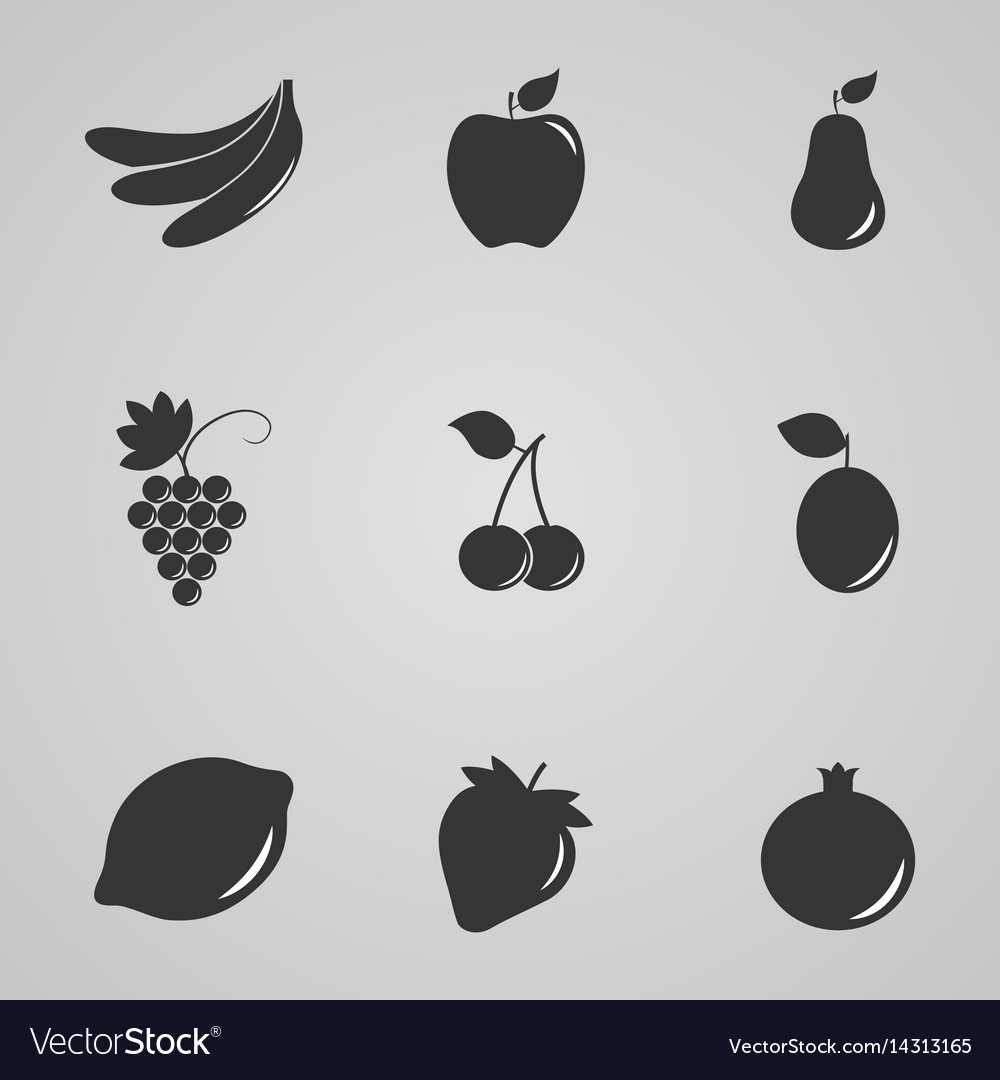 Set of icons of fruits and berries vector image