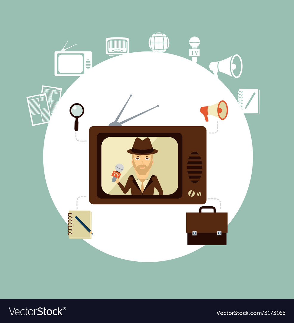 TV journalist acts in direct effire llustration vector image